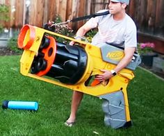 If the world's largest NERF gun proves one thing, it's that bigger is indeed better. This massive four foot tall toy was created by former NASA engineer Mark Rober and fires giant darts made from pool noodles and plunger heads nearly 40 feet in distance.