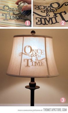 Stenciled lamp shade… cute idea for kids, or movie room.