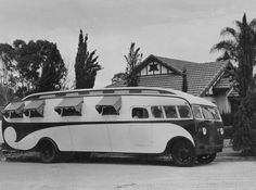 Love the bitty awnings over the windows in this early RV!