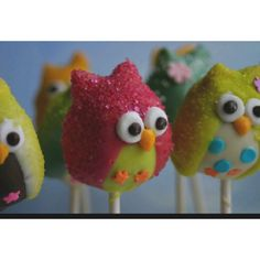 Pink & Green Sugared Owl Cake Pops