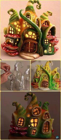DIY Plastic Bottle Enchanted Fairy House Lamp Tutorial Vdieo - DIY Fairy Light Projects & Instructions bottle crafts diy DIY Fairy Light Craft Projects Ideas and Instructions Clay Fairy House, Fairy Garden Houses, Fairy Gardens, Fairies Garden, Garden Art, Fairy Crafts, Diy And Crafts, Plastic Bottle Crafts, Plastic Bottles