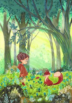 Fox and Child by Laure S on Behance #art #illustration More