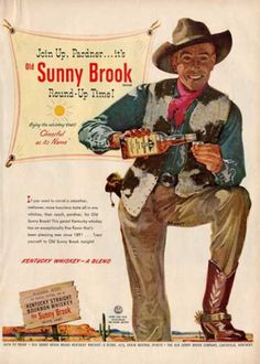 Sunny Brook Bourbon Whiskey Cowboy Western Ad T (1951)