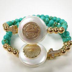 Bracelets By Vila Veloni Lovely Golden Cross With Mother Of Pearl