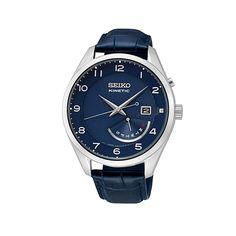 Ανδρικό ρολόι SEIKO SRN061P1 Kinetic με μπλε καντράν, ημέρα, ημερομηνία, ενδειξη εφεδρικής ισχύος και μπλε δερμάτινο λουρί   ΤΣΑΛΔΑΡΗΣ στο Χαλάνδρι #seiko #kinetic #μπλε #λουρι #tsaldaris Seiko Watches, Accessories, Jewelry