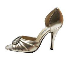 Manolo Blahnik Rhinestone Buckle d'Orsay Gold Sandals