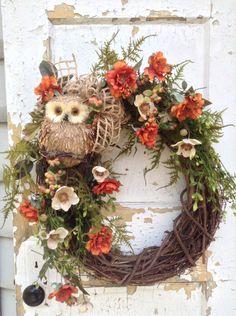 Summer Wreath for Door with Burlap Bow, Owl Wreath, Front Door Decor, Rustic Year Round Wreath, FlowerPowerOhio by FlowerPowerOhio on Etsy