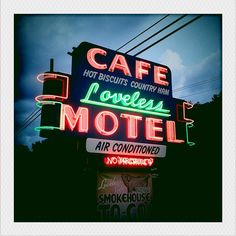 Loveless Motel and Cafe - neon sign Cool Neon Signs, Custom Neon Signs, Vintage Neon Signs, Neon Gas, Cafe Me, Neon Nights, Loveless, Old Signs, Neon Lighting