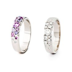 Which one do you fancy more of these 750 white gold Keto Meadow rings? The one from the original Keto Meadow collection with colorful sapphires and bright tw/vs diamonds, or the one with totally bright tw/vs diamond? Sapphire, Diamonds, Jewelry Design, White Gold, Keto, Wedding Rings, Fancy, Bright, Colorful