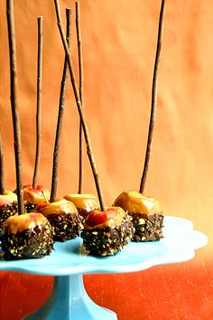 Mmm, small candied apples, these are so pretty (the twigs are the perfect touch) and look absolutely delicious! ...#Flavors of Fall