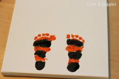 (20 crafty days of halloween) trick or treat footprint art