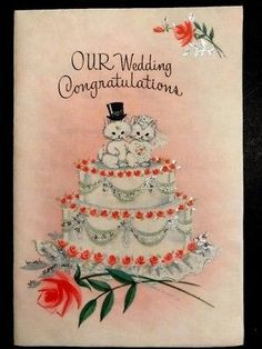 Vintage Wedding Cards, Vintage Wedding Invitations, Wedding Art, Vintage Greeting Cards, Vintage Bridal, Vintage Ephemera, Our Wedding, Vintage Weddings, 2 Tier Wedding Cakes