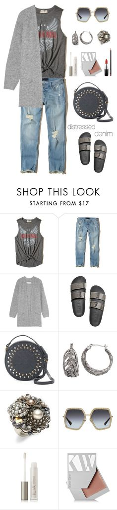 """Distressed Denim"" by musicfriend1 on Polyvore featuring Hollister Co., By Malene Birger, Olivia Miller, Simply Vera, Miriam Haskell, Gucci, Ilia, Kjaer Weis, MAC Cosmetics and lovethis"