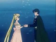Princess Serenity giving Prince Endymion her star locket.