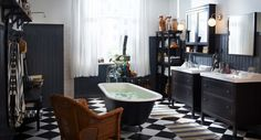 Bathroom: Simple Checkered Floor Mixed With Brown Armchair Also Black And White Ikea Bathroom Design: Fantastic Bathroom Ideas Designed by IKEA
