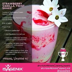 HUGE list of shake and snack recipes using Isagenix Isalean shakes! HUGE list of shake and snack recipes using Isagenix Isalean shakes! Isagenix 30 Day Cleanse, Isagenix Snacks, Vanilla Protein Shakes, Protein Shake Recipes, Isagenix Strawberry Shake Recipes, Protein Smoothies, Fruit Smoothies, Detox Smoothies, Herbalife Protein