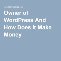 Owner of WordPress And How Does It Make Money |