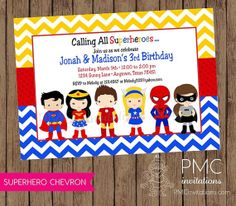 Superhero Birthday Invitation Boy Girl Superhero Birthday Party