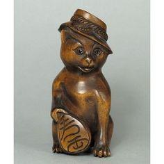 Boxwood Wood Netsuke CAT Figurine Carving (WN607) by www.tide-mammoth.com