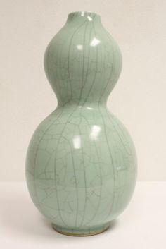 Large Chinese celadon gourd shape vase