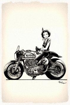 pinterest.com/fra411 #bike #art - Tank Girl on a Norton, does it get any cooler?