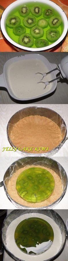 Jelly cake kiwi and cream without baking