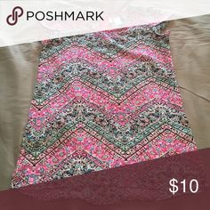 Funky top Multicolored cute top with zipper back (1/4). Material very light and comfortable. Excellent condition Shirts & Tops Blouses