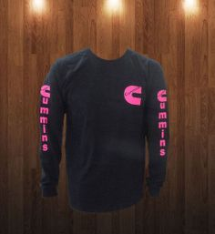 Cummins Long Sleeve T-shirt Pink Logo Front and Back Sizes S-XL #Cummins #GraphicTee