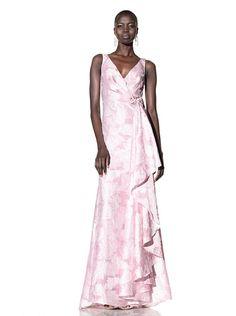 Badgley Mischka Women's V-Neck Organza Jacquard Gown at MYHABIT