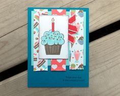 Cupcake Birthday Card  Handmade Greeting Card by saltonscovestudio, on Etsy