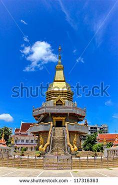 Thai pagoda, Phothisoonthorn temple, Udornthani province, Thailand - stock photo