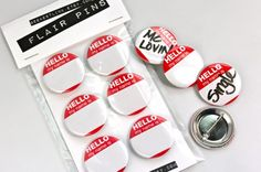 Items similar to Party Name Tag Pinback Buttons Hello My Name Is Red White on Etsy Reunion Name Tags, Diy Name Tags, Interactive Bulletin Boards, Calligraphy Name, Creative Names, Party Names, Name Badges, Pin Badges, Hello My Name Is