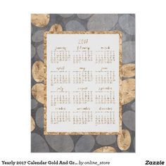 Yearly 2017 Calendar Gold And Gray Poster 18x24
