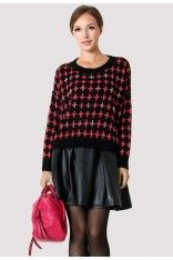 #Chicwish  Color Block Cross Jumper with Deco Embellished