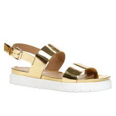 gold flatform sandals
