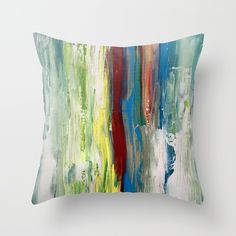Throw Pillow featuring Abstract Painting by ANoelleJay Down Pillows, Floor Pillows, Throw Pillows, Pillow Inserts, Pillow Covers, Popular Paintings, Hand Painted Fabric, Bohemian Bedroom Decor, Colorful Pillows