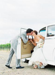 Wedding car kiss...