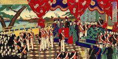 Promulgação da Constituição Meiji (Foto: Reprodução da obra do artista Toyohara Chikanobu, era-Meiji)