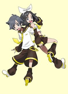 Pokemon sun and moon characters, sorry don't watch sun and moon, as the kagamine twins Pokemon Alola, First Pokemon, Pokemon Special, Pokemon Memes, Pokemon Stuff, Cool Pokemon, Pokemon Crossover, Anime Crossover, Pokemon Moon And Sun