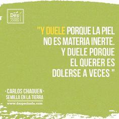 ¿Será que, como dice Carlos Chaouen, el querer es dolerse a veces? ¿Qué piensan ustedes?