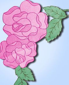 "1940s Betty Burton Embroidery Transfer ""E"" Rose Pillowcase Motifs Uncut ORIG"