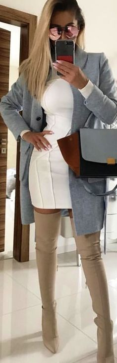 #spring #outfits gray blazer and brown knee high heeled booties. Pic by @katekijo