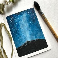 Diy Art Painting, Night Painting, Painting Art Lesson, Art Drawings Simple, Galaxy Painting, Watercolor Art Lessons, Watercolor Paintings, Amazing Art Painting, Diy Canvas Art Painting