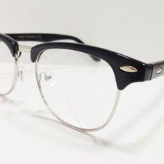 9cc6fa31f40e Black Clubmaster Half Silver Frame Clear Nerd Glasses