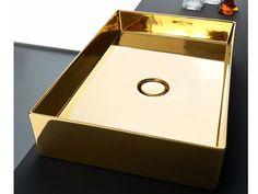 Lavabo da appoggio rettangolare in ceramica SELFIE LUXURY GOLD Collezione Selfie by Alice Ceramica