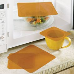 Microwave Splatter Covers - These reusable covers do a better job of containing splatters while letting steam vent. Food even cooks faster and more evenly without drying out. Non-toxic and dishwasher safe, they'll never sag into food or melt. Kitchen Hacks, Kitchen Gadgets, Kitchen Tools, Kitchen Things, Kitchen Products, Kitchen Utensils, Kitchen Stuff, Kitchen Appliances, Gadgets And Gizmos
