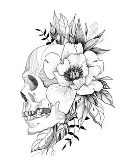 Blumen tattoo designs skizzen schdel ideen flowers tatto tattoos tatto fonts 50 stunning sugar skull tattoo design ideas their meanings Floral Skull Tattoos, Skull Tattoo Flowers, Skull Girl Tattoo, Floral Tattoo Design, Skull Tattoo Design, Flower Skull, Flower Tattoo Designs, Flower Tattoos, Tatto Designs