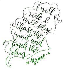 Merida. Brave. By Wildflower Lettering. Disney Art.
