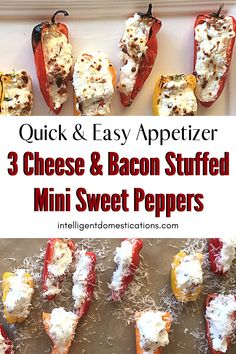 Quick and easy appetizer recipe for 3 Cheese and Bacon Stuffed Mini Sweet Peppers. Ready in minutes. Cheesy bacon deliciousness everyone loves. A fun finger food for a party or game day. #appetizer #gameday #partyfood #cheesybacon #lowcarb Fudge Recipes, Lasagna Recipes, Cod Recipes, Lentil Recipes, Broccoli Recipes, Pudding Recipes, Sausage Recipes, Cream Recipes, Shrimp Recipes