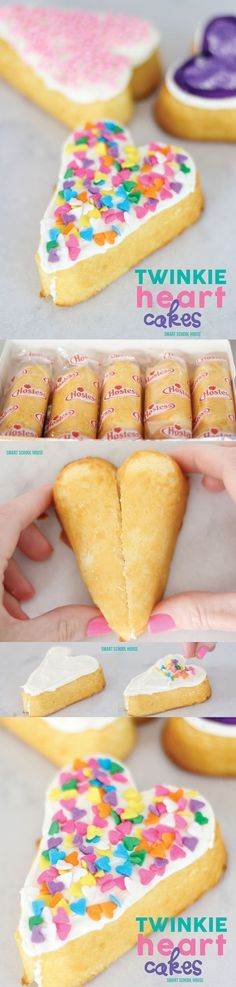 Twinkie Heart Cakes - How to make hearts using Twinkies. LOVE THIS idea for Valentine's Day